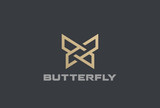 Butterfly Logo geometric design abstract vector Linear icon