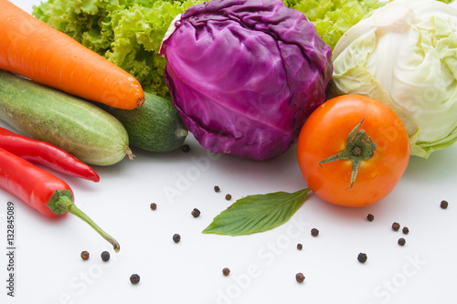 Poszter vegetables isolated on white background