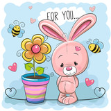 Greeting card cute cartoon Rabbit with flower