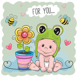 Cute Cartoon Baby in a froggy hat