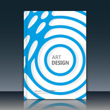 Abstract composition. Blue round curl texture. Circle contour construction. Circumstances parts. White a4 brochure title sheet. Creative sphere figure icon surface. Banner form. Orb lines flyer font