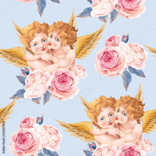 Cotton fabric Valentines day seamless with roses and cupid