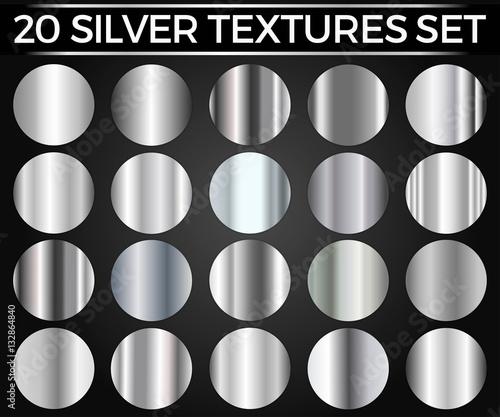 Wektorowy Ustawiający Srebni gradienty, srebro Obciosuje kolekcję, tekstury Grupują Eps 10
