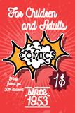 Color vintage comics shop banner