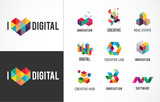 Fototapety Creative, digital abstract colorful icons, elements and symbols, logo collection, template