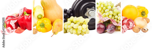 Poszter Different sets of fruits and vegetables, isolated