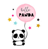 Cute Panda bear illustration, simple style card, poster