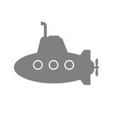 Grey submarine vector icon on white background