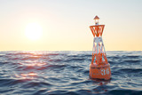 Fototapety Buoy in the open sea on the sunset background.
