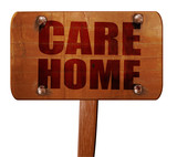 care home, 3D rendering, text on wooden sign
