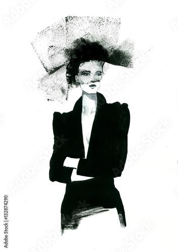 retro fashion style woman - 132874290