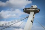 Ufo restaurant above the bridge in Bratislava, Slovakia..Bratislava castle Slovakia