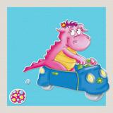 il piccolo drago,  gioca con macchina