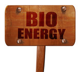bio energy, 3D rendering, text on wooden sign