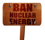 ban nuclear energu, 3D rendering, text on wooden sign