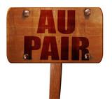 au pair, 3D rendering, text on wooden sign