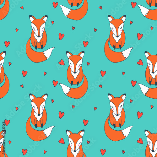 Cotton fabric Cute baby fox with hearts - vector hand drawn seamless pattern. Childish kawaii style sketch with small animal. Valentines day romantic greeting card