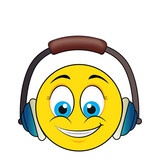 happy face with headset vector illustration design