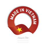 Made in Vietnam flag red color label button banner