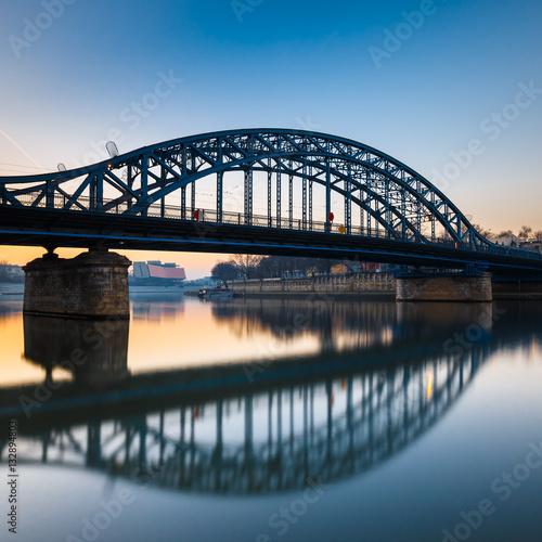Pilsudzki bridge at sunset in Krakow, Poland