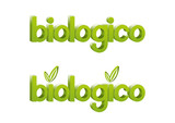 Scritta prodotto biologico verde tridimensionale