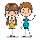 cute little kids drawing vector illustration design
