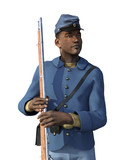 African American Civil War Union Soldier - 3d render