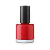 Round red glossy nail polish bottle