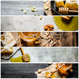 Food collage of honey.