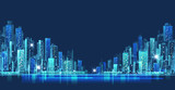 City skyline panorama at night, hand drawn cityscape, vector drawing architecture illustration - 132910893