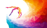Fototapety Creative silhouette of gymnastic girl. Art gymnastics vector