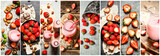Food collage of strawberry.