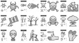 Ecology biohazard line icon set.