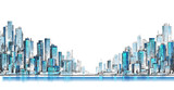 City skyline panorama, hand drawn cityscape, vector drawing architecture illustration - 132915653