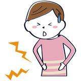 かわいい線画の女性 ショートカット 上半身 私服 腹痛