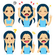 Cute young girl set with six different expressions