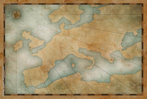 viejo-fondo-del-tema-nautico-del-mapa-de-europa