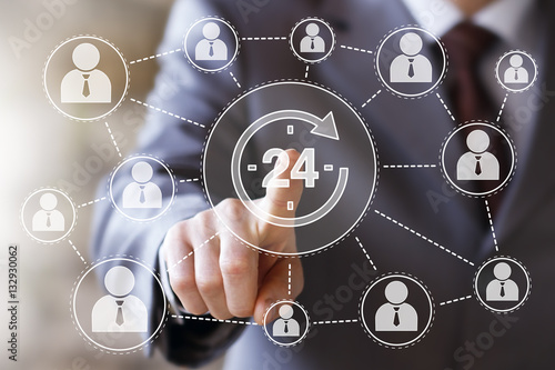 Poster Business button 24 hours service icon network web
