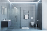 Gray modern shower room in the daylight