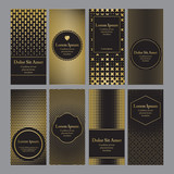 Flyers with patterns in gold and black - polka dots and halftone