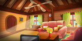 Inside of Tree House, Warm Cabin. Video Games Digital CG Artwork, Concept Illustration, Realistic Cartoon Style Background