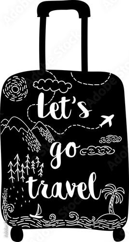 stylowa-recznie-rysowana-czarna-walizka-z-motywami-gor-lasow-samolotow-morza-i-kaligrafii-przejdzmy-do-podrozy-zamilowanie-do-wloczegi-ilustracja-stylu-szkicu-karta-wektor