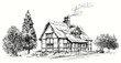 Hand drawn vector illustration - thatched roof stone cottage in