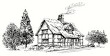 Hand drawn vector illustration - thatched roof stone cottage in - 132941074