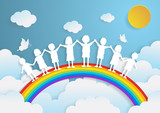 kids playing with the rainbow,paper art style - 132941487