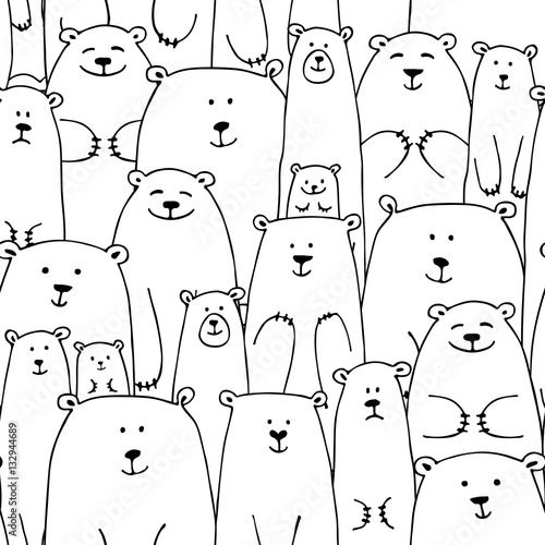 White bears family, seamless pattern for your design © Kudryashka