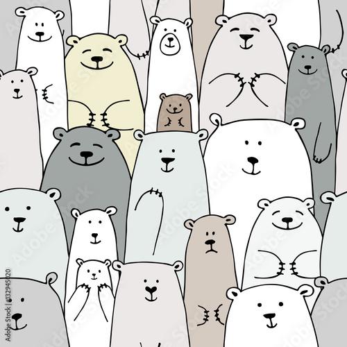 Fototapeta Bears family, seamless pattern for your design