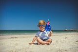 Cute boy with Australian flag on Australia day