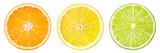 Citrus fruit. Orange, lemon, lime, grapefruit. Slices isolated o - 132950438