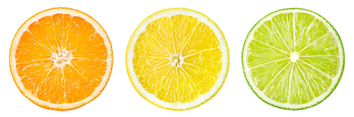 Citrus fruit. Orange, lemon, lime, grapefruit. Slices isolated o © Tim UR